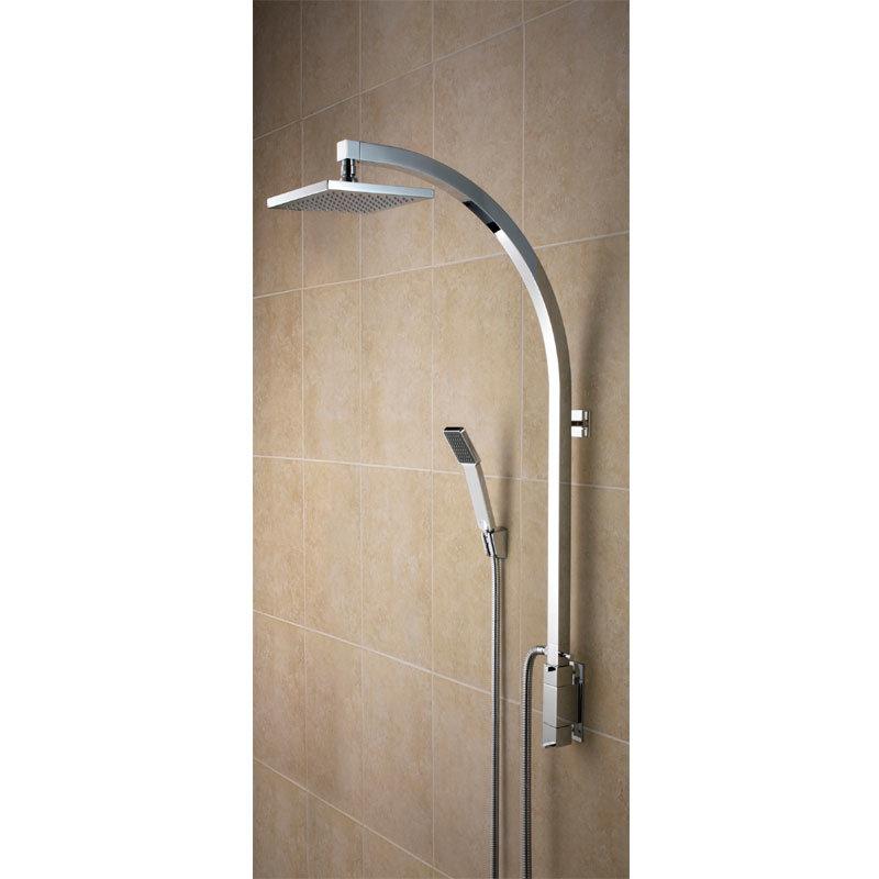 Bristan - Qube Thermostatic Inline Vertical Shower Pole w/ Integral Diverter to Handset Large Image