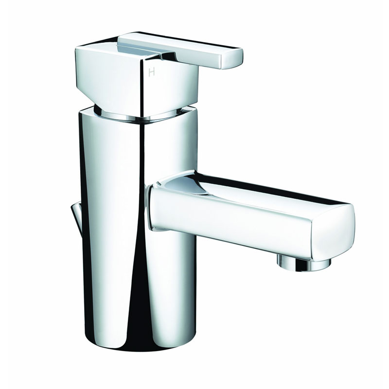 Bristan - Qube Mini Basin Mixer w/ Pop Up Waste - Chrome - QU-SMBAS-C Large Image