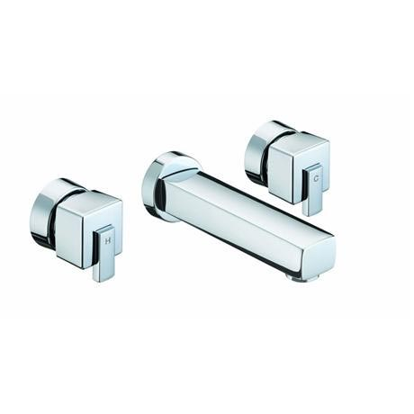 Bristan - Qube 3 Hole Wall Mounted Bath Filler - Chrome - QU-3HWMBF-C