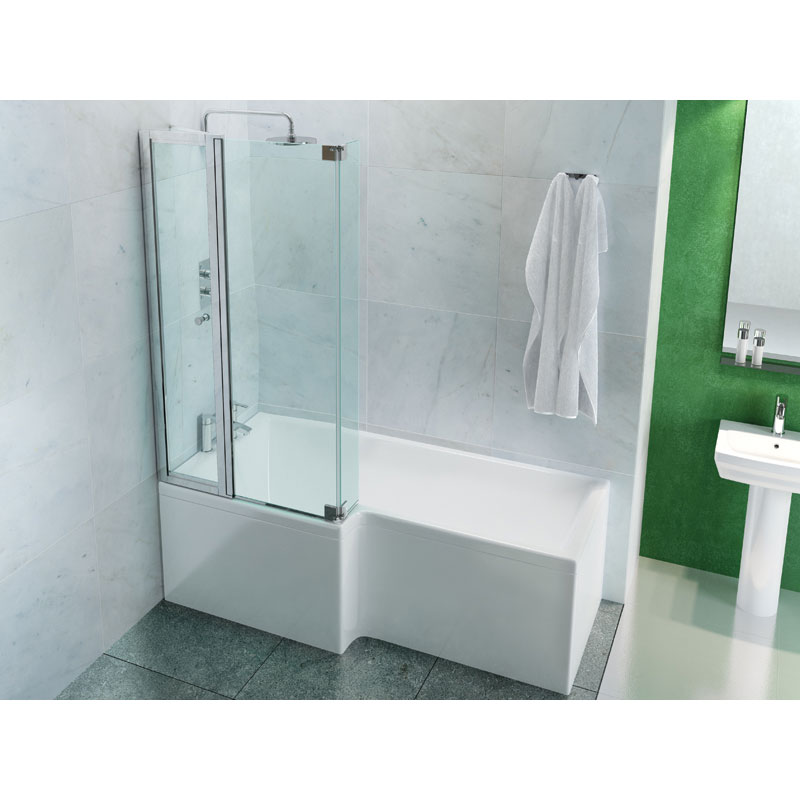 Cleargreen - EcoSquare 1700mm Shower Bath - Left or Right Hand Option profile large image view 2
