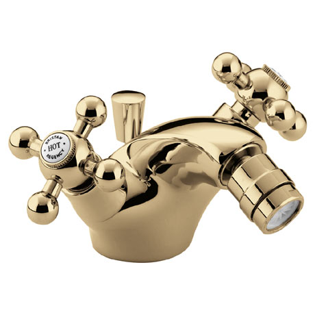 Bristan - Regency Mono Bidet Mixer w/ Pop Up Waste - Gold Plated - R-BID-G