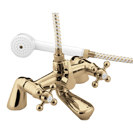 Bristan - Regency Pillar Bath Shower Mixer - Gold Plated - R-BSM-G
