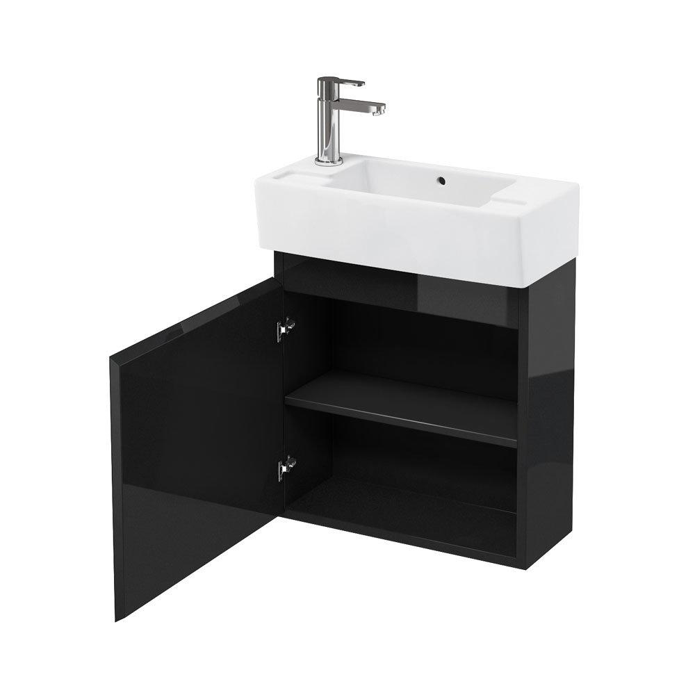 Aqua Cabinets - W500 x D250 Narrow Wall Hung Cloakroom Unit and Basin - Black Large Image