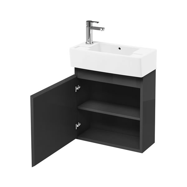 Aqua Cabinets - W500 x D250 Narrow Wall Hung Cloakroom Unit and Basin - Anthracite Grey Large Image