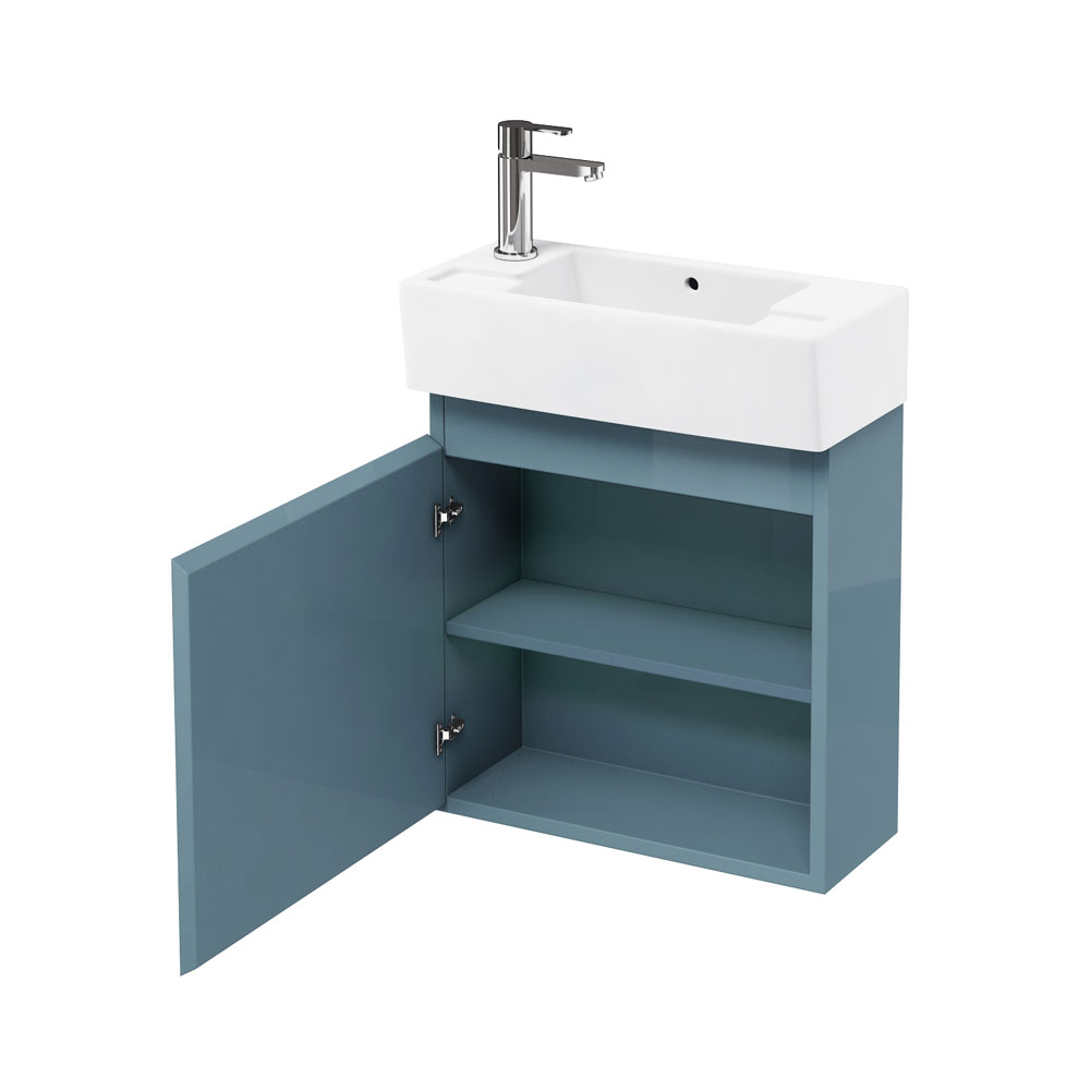 Aqua Cabinets - W500 x D250 Narrow Wall Hung Cloakroom Unit and Basin - Ocean profile large image view 1