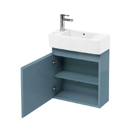 Aqua Cabinets - W500 x D250 Narrow Wall Hung Cloakroom Unit and Basin - Ocean