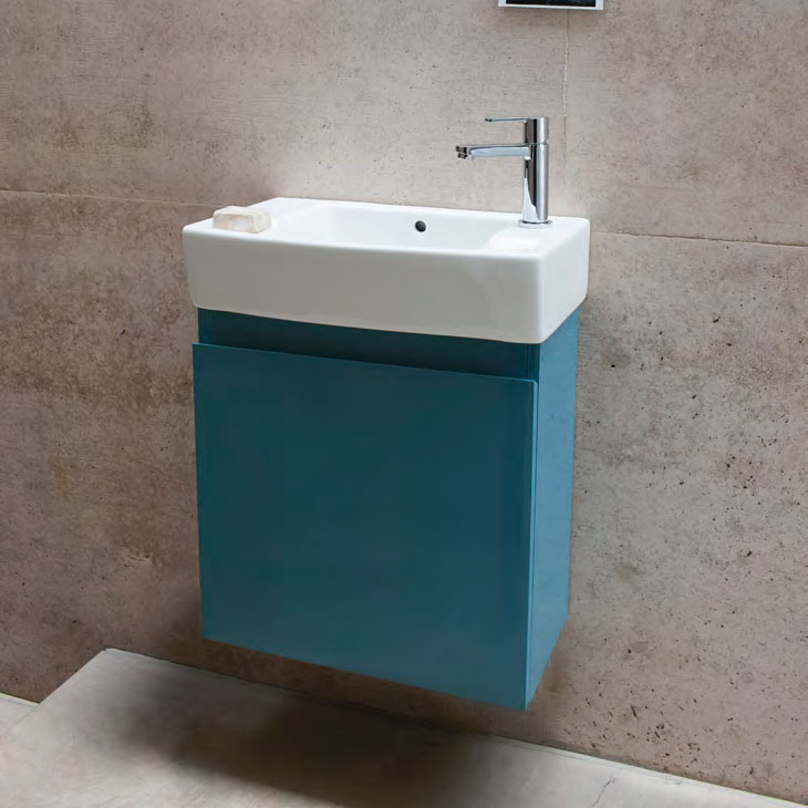 Aqua Cabinets - W500 x D250 Narrow Wall Hung Cloakroom Unit and Basin - Anthracite Grey Profile Large Image