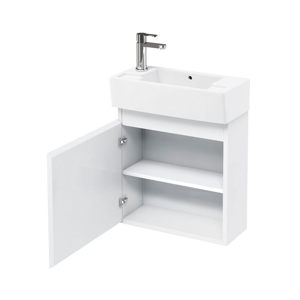 Aqua Cabinets - W500 x D250 Narrow Wall Hung Cloakroom Unit and Basin - White Large Image