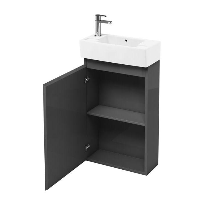 Aqua Cabinets Compact Cloakroom 250mm Floorstanding Unit with Basin - Anthracite Grey Large Image