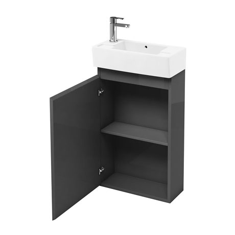 Aqua Cabinets Compact Cloakroom 250mm Floorstanding Unit with Basin - Anthracite Grey