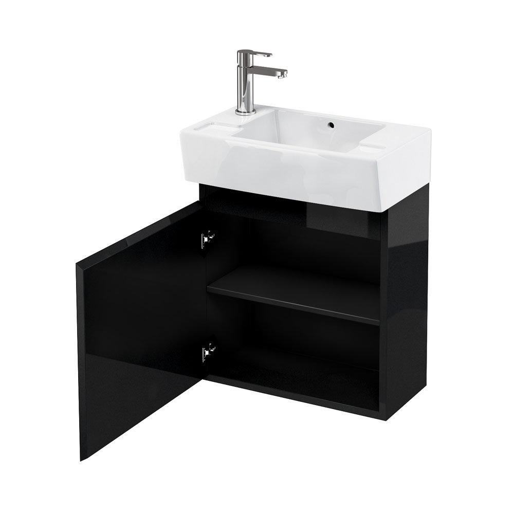 Aqua Cabinets - W500 x D305 Deep Wall Hung Cloakroom Unit and Basin - Black profile large image view 1