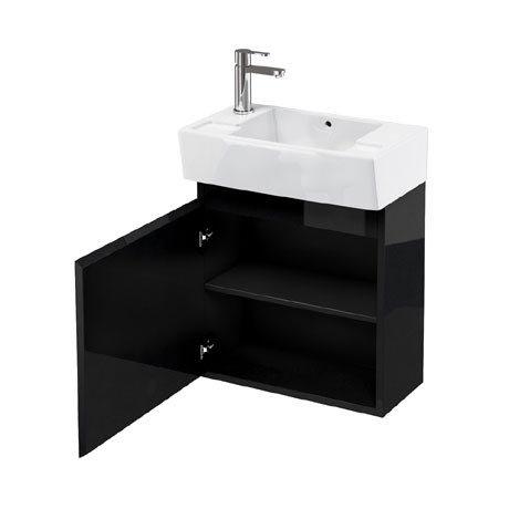 Aqua Cabinets - W500 x D305 Deep Wall Hung Cloakroom Unit and Basin - Black