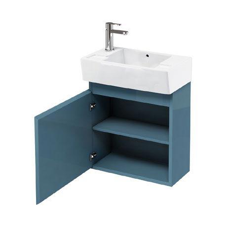 Aqua Cabinets - W500 x D305 Deep Wall Hung Cloakroom Unit and Basin - Ocean