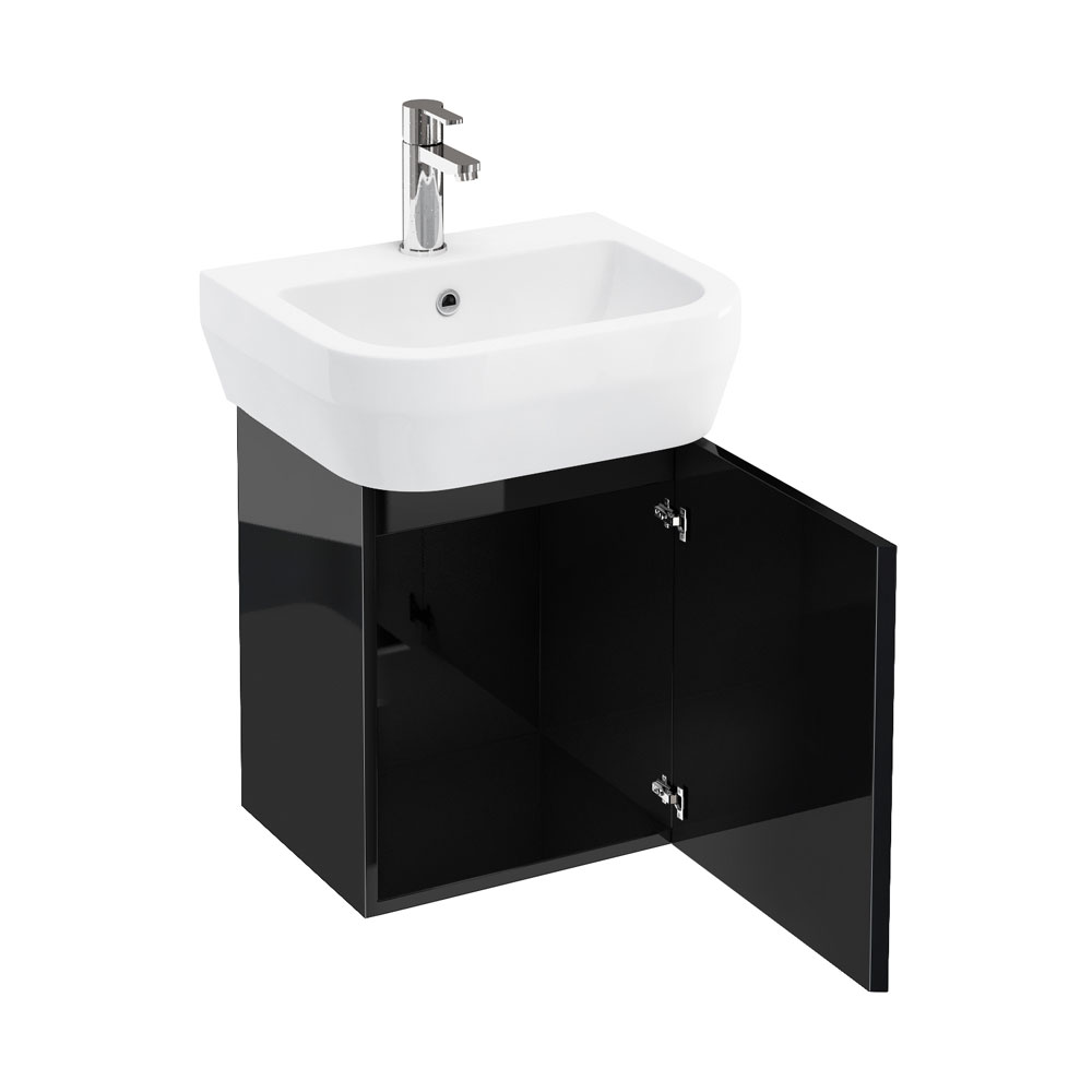 Aqua Cabinets - W500 x D450 Aquacube Wall Hung Cloakroom Unit and Basin - Black profile large image view 1