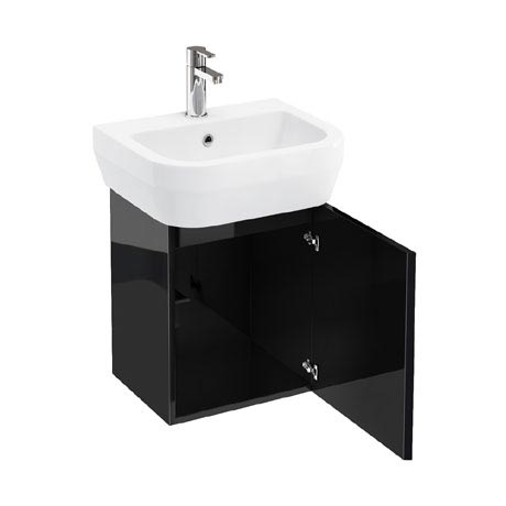 Aqua Cabinets - W500 x D450 Aquacube Wall Hung Cloakroom Unit and Basin - Black