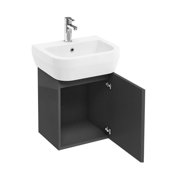 Aqua Cabinets - W500 x D450 Aquacube Wall Hung Cloakroom Unit and Basin - Anthracite Grey Large Image