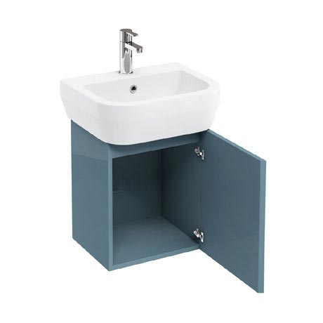 Aqua Cabinets - W500 x D450 Aquacube Wall Hung Cloakroom Unit and Basin - Ocean