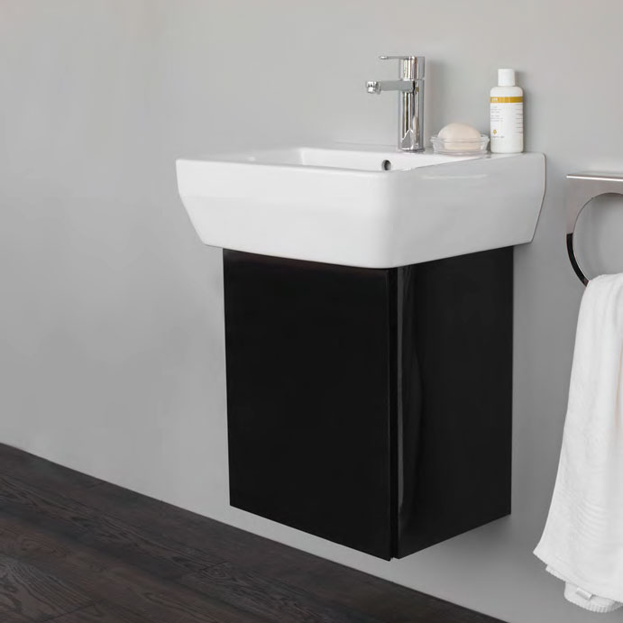 Aqua Cabinets - W500 x D450 Aquacube Wall Hung Cloakroom Unit and Basin - Ocean Profile Large Image