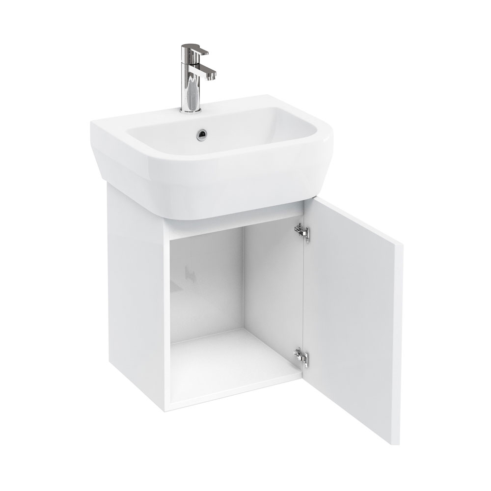 Aqua Cabinets - W500 x D450 Aquacube Wall Hung Cloakroom Unit and Basin - White profile large image view 1