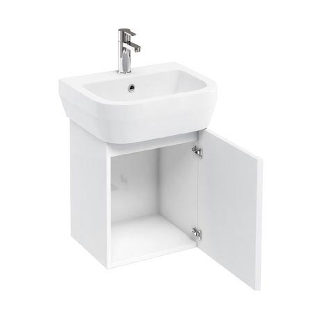 Aqua Cabinets - W500 x D450 Aquacube Wall Hung Cloakroom Unit and Basin - White