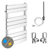Milan 490 x 800mm Heated Towel Rail (Inc. Valves + Electric Heating Kit) profile small image view 1