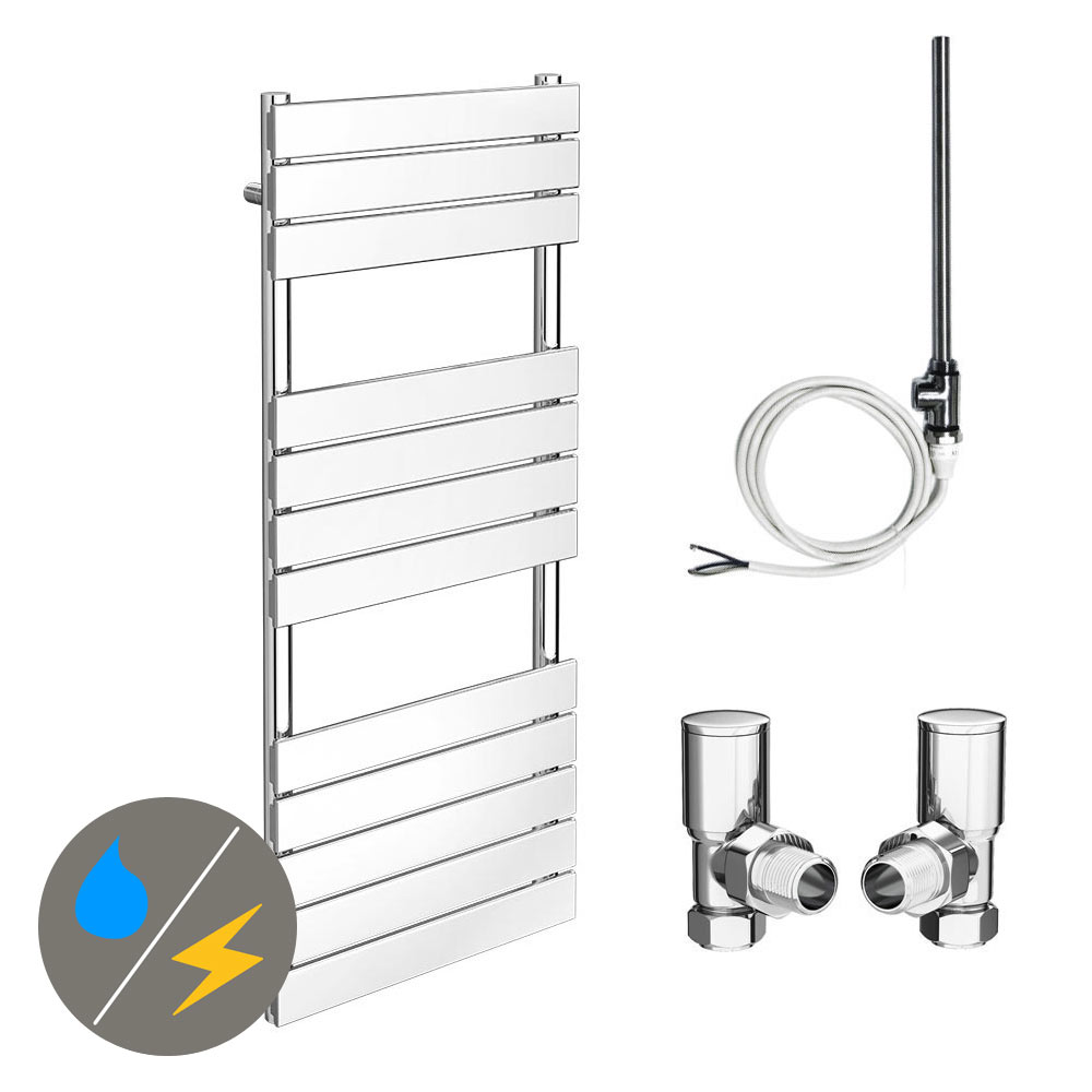 Milan 490 x 1200mm Heated Towel Rail (Inc. Valves + Electric Heating Kit)