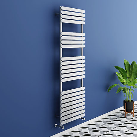 Murano Curved 1500 x 500mm Chrome Modern Heated Towel Rail - 22 Sections