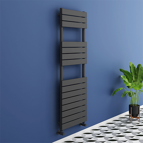 Milan Anthracite 1500 x 500mm Flat Panel Heated Towel Rail - 15 Sections