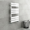 Milan White 800 x 490mm Heated Towel Rail profile small image view 1