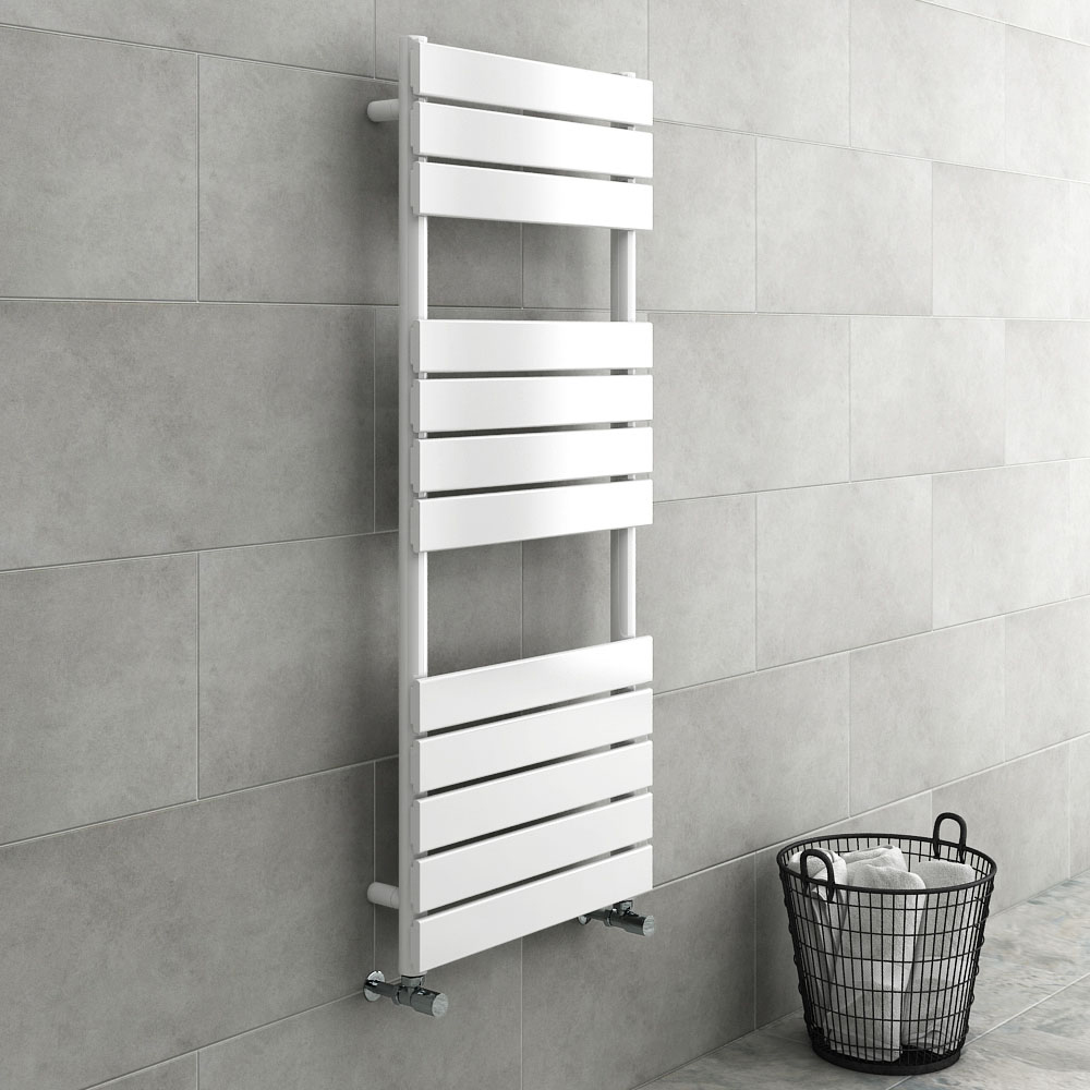 Milan White 1200 x 490mm Heated Towel Rail