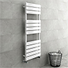 Milan White 1200 x 490mm Heated Towel Rail profile small image view 1