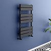 Milan Matt Black 800 x 490 Heated Towel Rail profile small image view 1