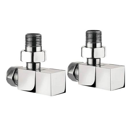 Bauhaus - Chrome Square Angled Radiator Valves - RADVA2