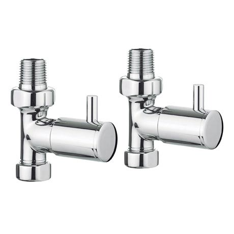 Bauhaus - Chrome Round Straight Radiator Valves - RADVS1