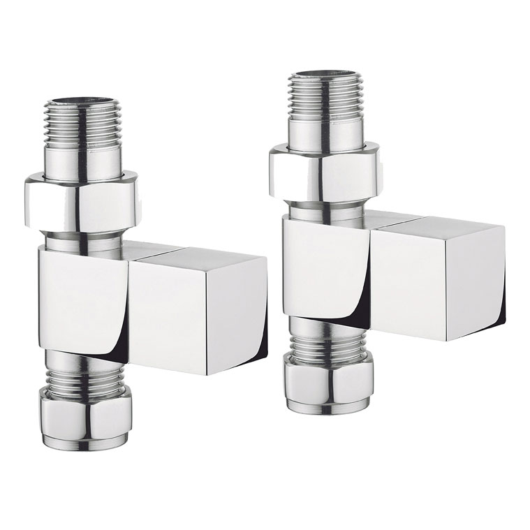 Bauhaus - Chrome Square Straight Radiator Valves - RADVS2