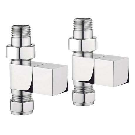 Bauhaus - Chrome Square Straight Radiator Valves - RADVS2