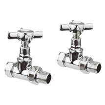 Bauhaus Belle Chrome Straight Radiator Valves - RADVS3C Medium Image