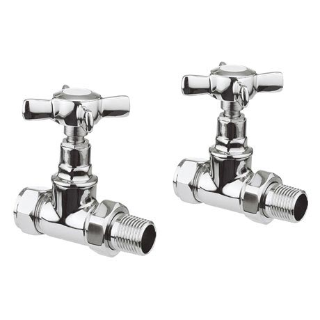 Bauhaus Belle Chrome Straight Radiator Valves - RADVS3C