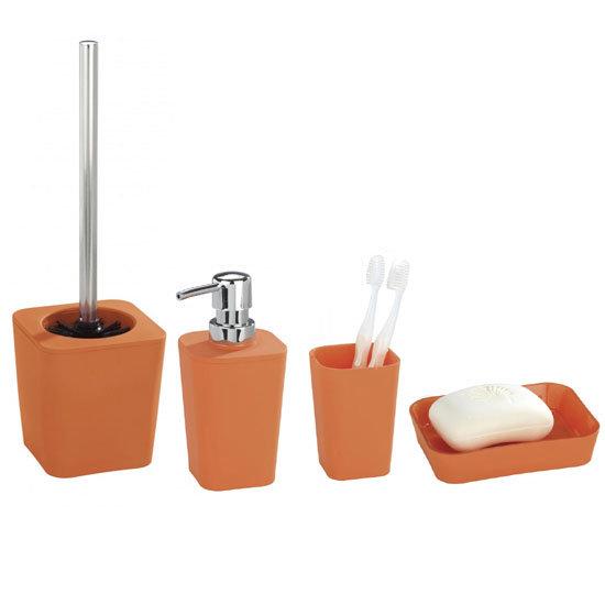 Wenko rainbow bathroom accessories set orange at for Victorian bathroom accessories set