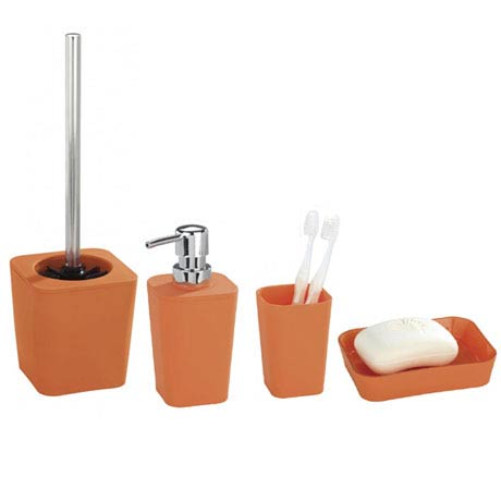 Wenko Rainbow Bathroom Accessories Set Orange At Victorian Plumbing Uk
