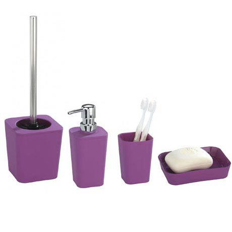 wenko rainbow bathroom accessories set purple