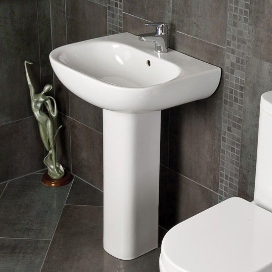 RAK - Tonique 55cm Basin 1th with Full Pedestal Profile Large Image