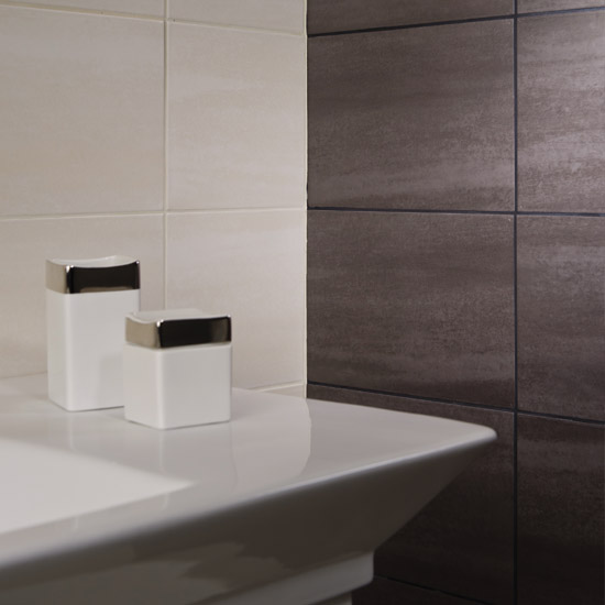 RAK - 6 Dolomite Matt Black Porcelain Tiles - 300x600mm - 9GPDOLOMITE-BK In Bathroom Large Image
