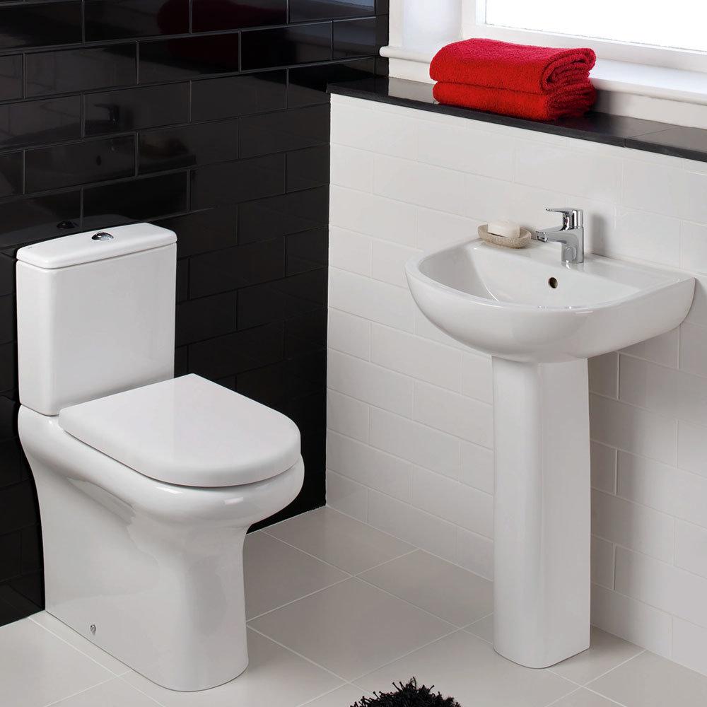 Rak bathroom suites - Rak Compact 4 Piece Suite Deluxe Close Coupled Wc 55cm Basin At Victorian Plumbing Uk