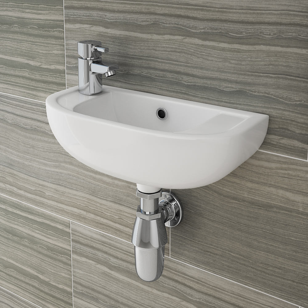 RAK Compact 45cm Slimline Basin - 1TH - Left or Right Hand Option Large Image