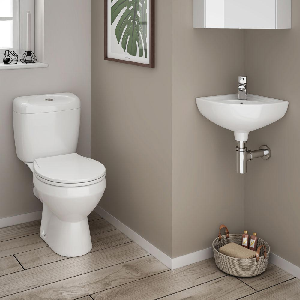RAK Compact Corner Basin - 1 or 2 Tap Hole Option Feature Large Image