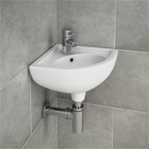 RAK Compact Corner Basin - 1 or 2 Tap Hole Option Medium Image