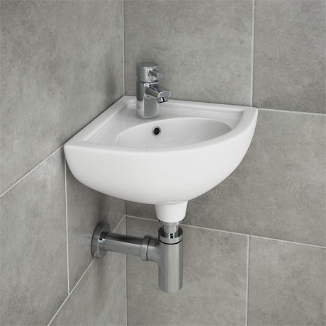 RAK Compact Corner Basin - 1 or 2 Tap Hole Option