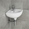 RAK Compact Corner Basin - 1 or 2 Tap Hole Option Small Image