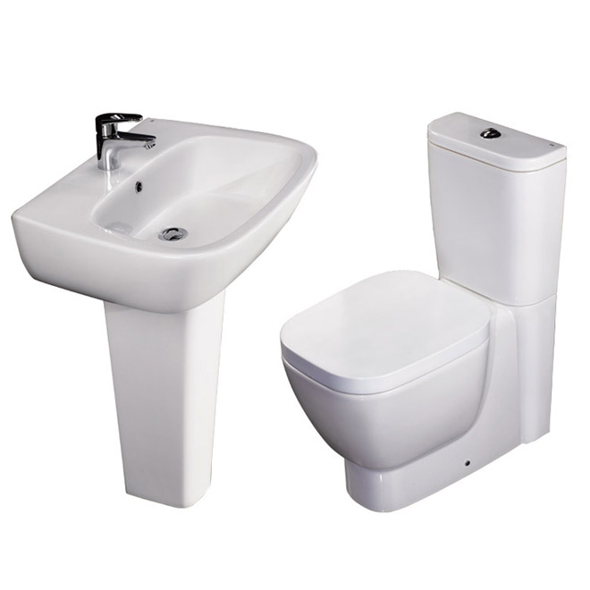RAK - Elena 4 Piece Set - Close Coupled WC & 60cm Basin with Full Pedestal Large Image